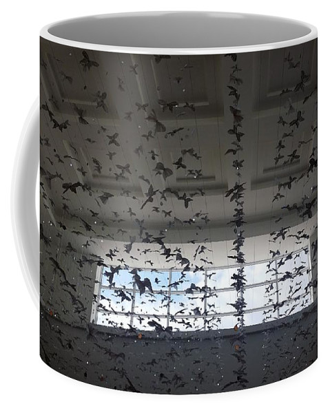 Butterfly Coffee Mug featuring the photograph Hanging Butterflies B W 2 by Rob Hans