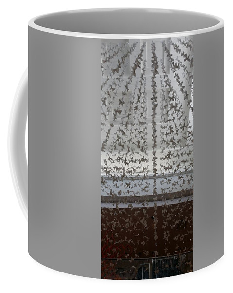 Butterfly Coffee Mug featuring the photograph Hanging Butterflies B W by Rob Hans