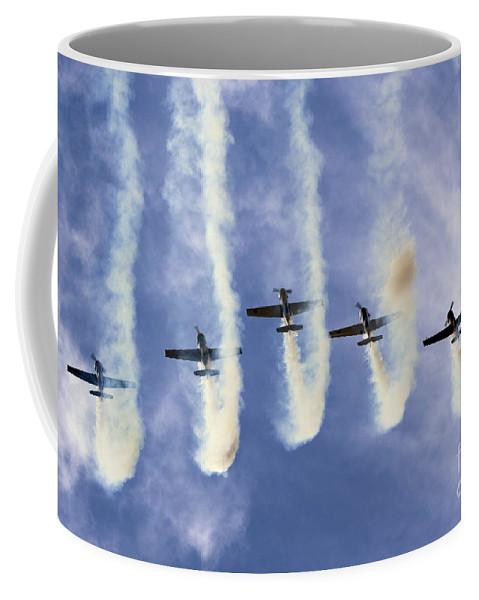 Aerostars Coffee Mug featuring the photograph Hanging On The Sky by Angel Ciesniarska