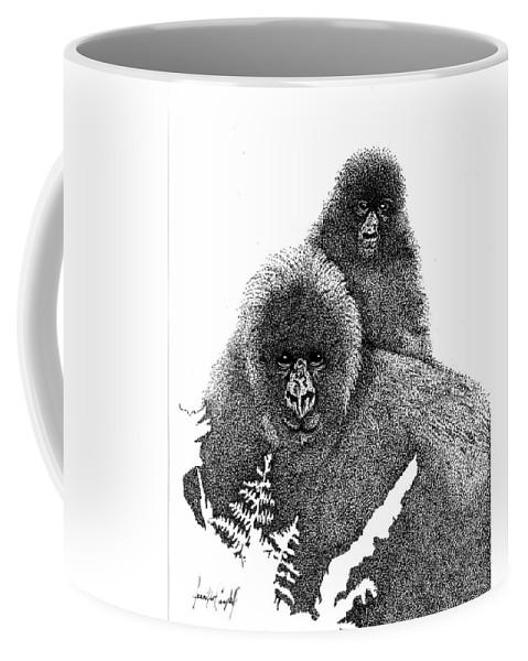 Jennifer Campbell Brewer Coffee Mug featuring the drawing Mommy And Me by Jennifer Campbell Brewer