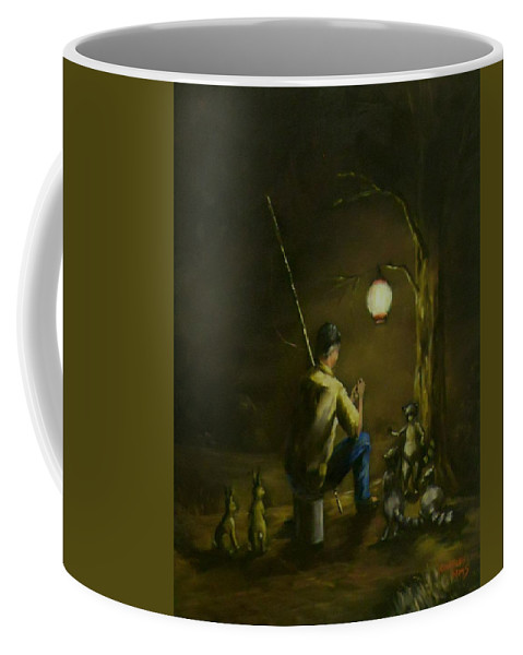 Rabbits Coffee Mug featuring the painting Hanging Out With The Coon Brothers by Charles Sims