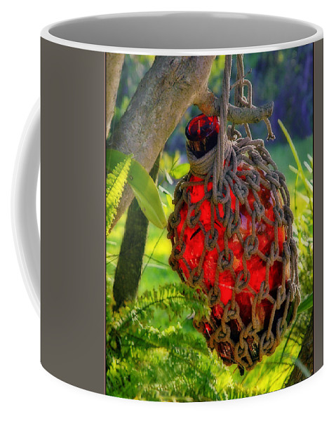 Red Bottle Coffee Mug featuring the photograph Hanging Red Bottle Garden Art by Ginger Wakem