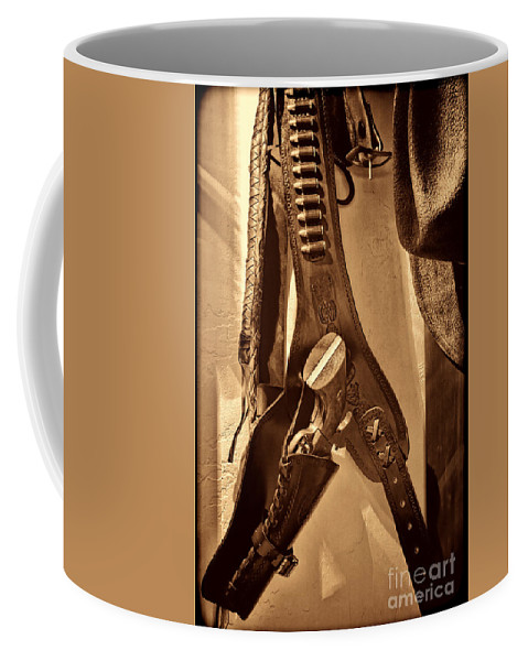 Gun Coffee Mug featuring the photograph Hanging Revolver by American West Legend By Olivier Le Queinec