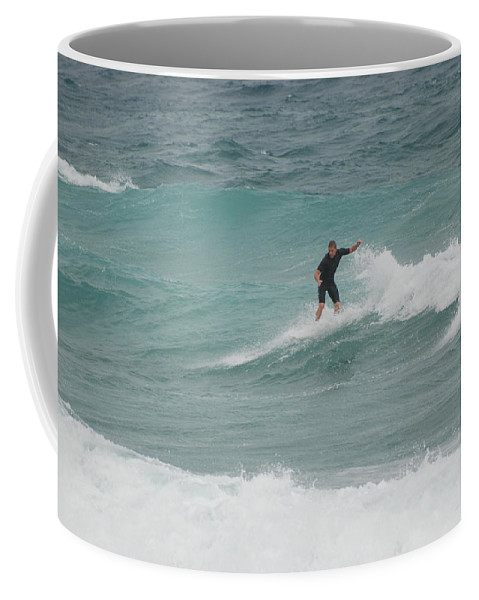 Water Coffee Mug featuring the photograph Hanging Ten by Rob Hans