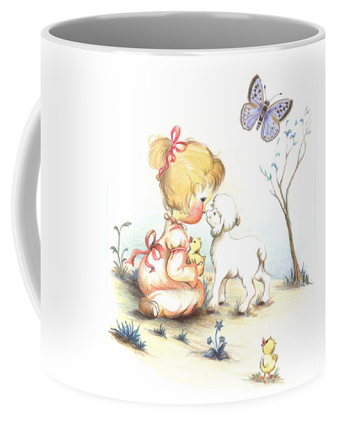 Sketch Coffee Mug featuring the drawing Happiness by Sorin Apostolescu