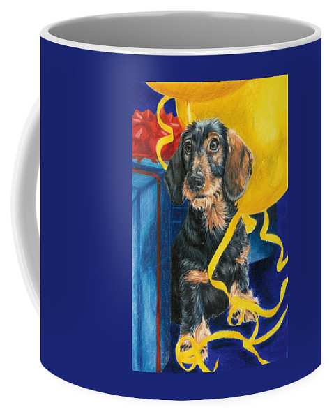 Dogs Coffee Mug featuring the drawing Happy Birthday by Barbara Keith