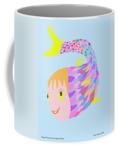 Happy Fish Coffee Mug featuring the painting Happy Clown Fish by Fred Jinkins