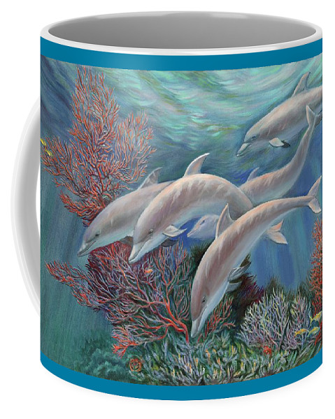 Dolphin Coffee Mug featuring the painting Happy Family - Dolphins Are Awesome by Svitozar Nenyuk