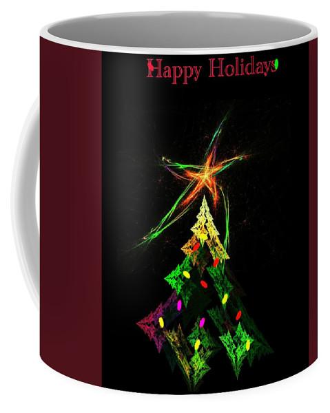 Abstract Digital Painting Coffee Mug featuring the digital art Happy Fractal Holidays by David Lane