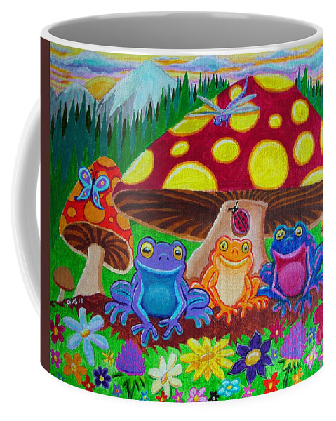 Frogs Coffee Mug featuring the painting Happy Frog Meadows by Nick Gustafson