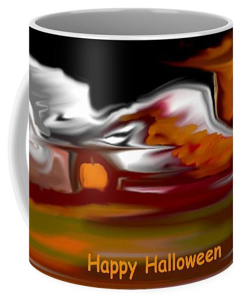 Abstract Digital Painting Coffee Mug featuring the digital art Happy Halloween by David Lane