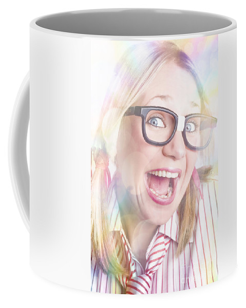 Activity Coffee Mug featuring the photograph Happy Nerd Girl Singing Karaoke And Dancing by Jorgo Photography - Wall Art Gallery