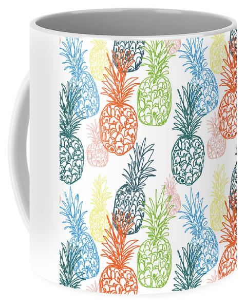 Pineapple Coffee Mug featuring the digital art Happy Pineapple- Art by Linda Woods by Linda Woods