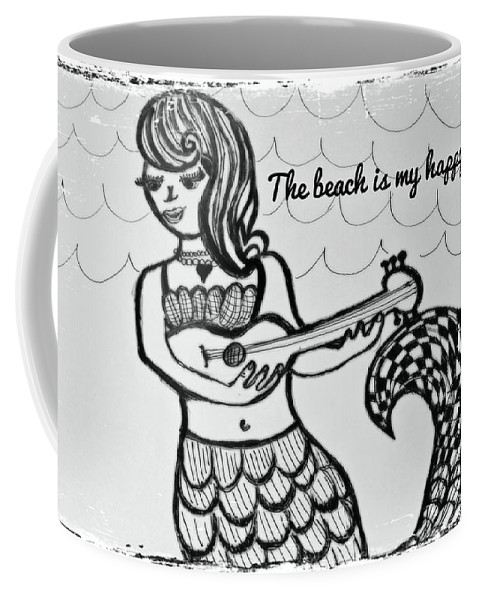 Mermaids Coffee Mug featuring the mixed media Happy Place by Sarah Bash