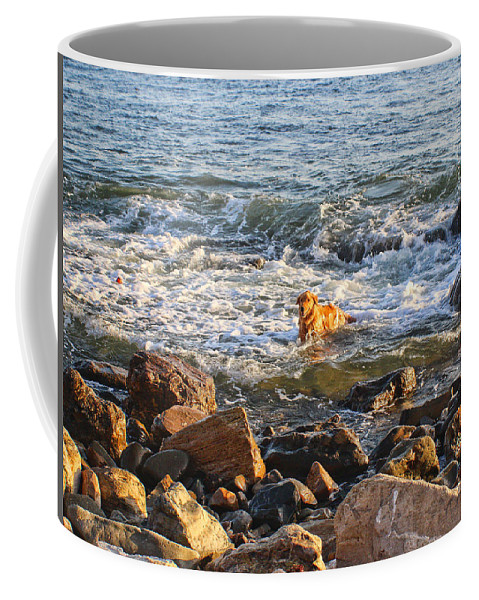 Coffee Mug featuring the photograph Happy Retreiver by Devin Digital