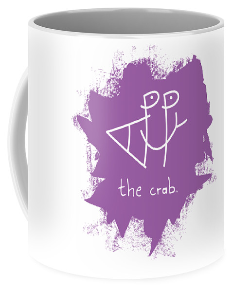 Happy Coffee Mug featuring the mixed media Happy The Crab - Purple by Chris N Rohrbach