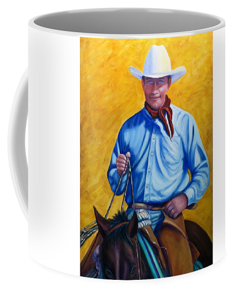 Cowboy Coffee Mug featuring the painting Happy Trails by Shannon Grissom