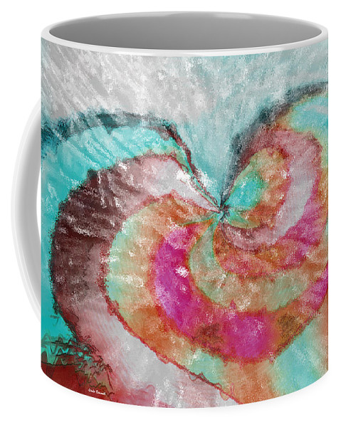 Abstract Art Coffee Mug featuring the digital art Happy Valentine's Day by Linda Sannuti
