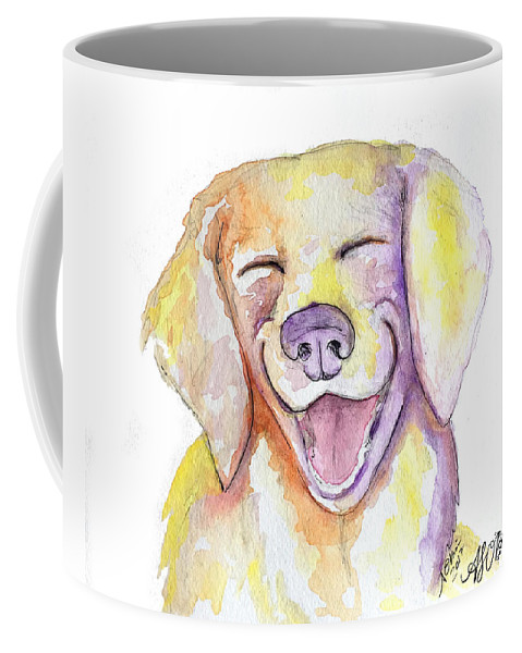Happy Dog Coffee Mug featuring the drawing Happy Yellow Dog by Amber O'Brien