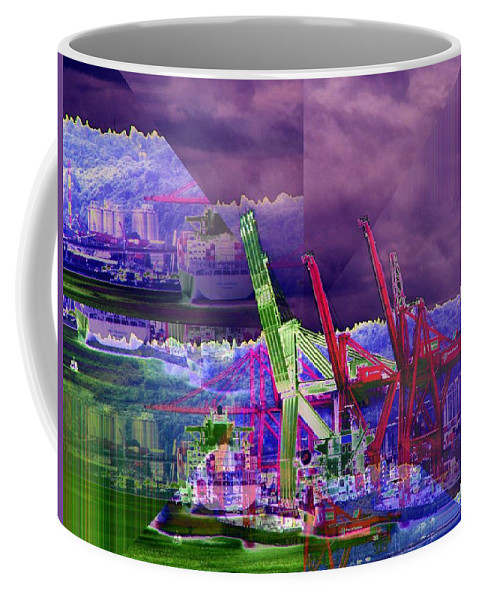 Seattle Coffee Mug featuring the digital art Harbor Island Workhorses by Tim Allen