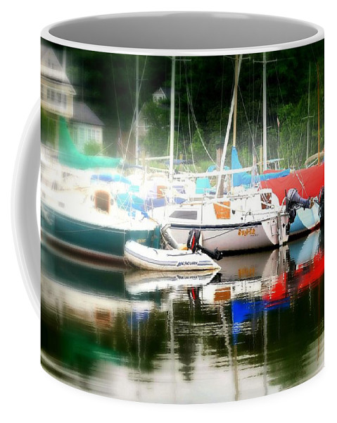 Boats Coffee Mug featuring the photograph Harbor Masts by Diana Angstadt
