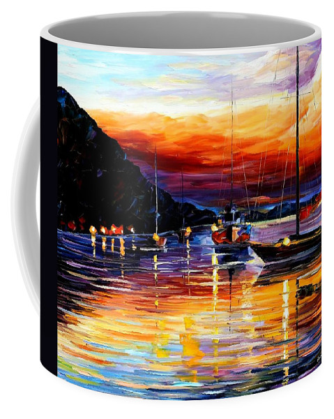 Afremov Coffee Mug featuring the painting Harbor Of Messina - Sicily by Leonid Afremov
