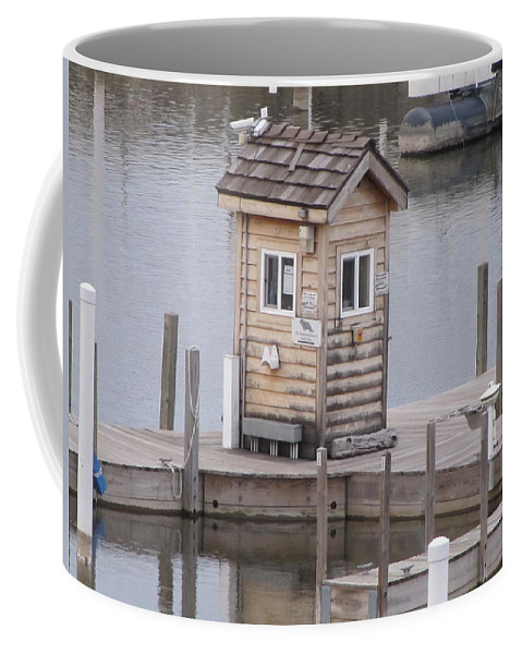 Harbor Shack Coffee Mug featuring the photograph Harbor Shack by Michael TMAD Finney