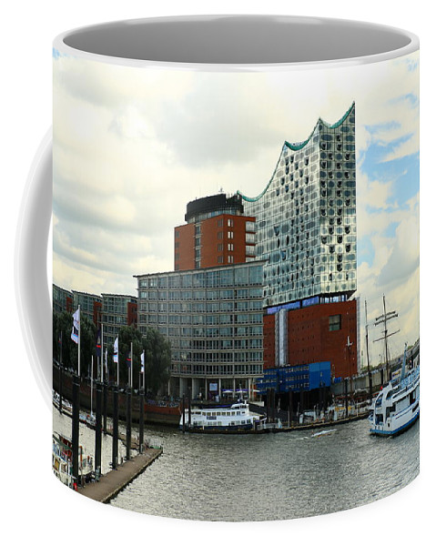 Hamburg Coffee Mug featuring the photograph Harbor View With Elbphilharmonie by Christiane Schulze Art And Photography