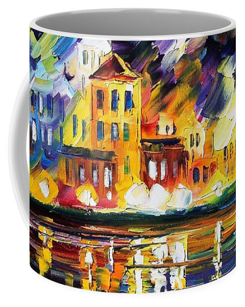 Afremov Coffee Mug featuring the painting Harbor's Flames by Leonid Afremov