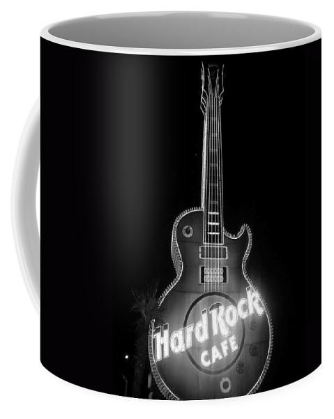 Vegas Coffee Mug featuring the photograph Hard Rock Cafe Sign B-w by Anita Burgermeister