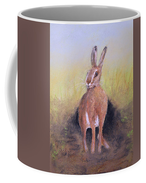 Hare Coffee Mug featuring the painting Hare by Ken Figurski