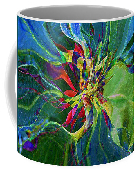 Abstract Coffee Mug featuring the painting Harlequin Poinsettia by RC DeWinter