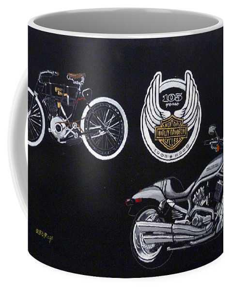 Bikes Coffee Mug featuring the painting Harley Davidson 105th Anniversary by Richard Le Page