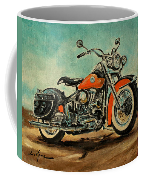 Harley Davidson Coffee Mug featuring the painting Harley Davidson 1956 Flh by Luke Karcz