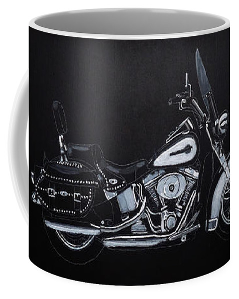 Bike Coffee Mug featuring the painting Harley Davidson Snap-on by Richard Le Page