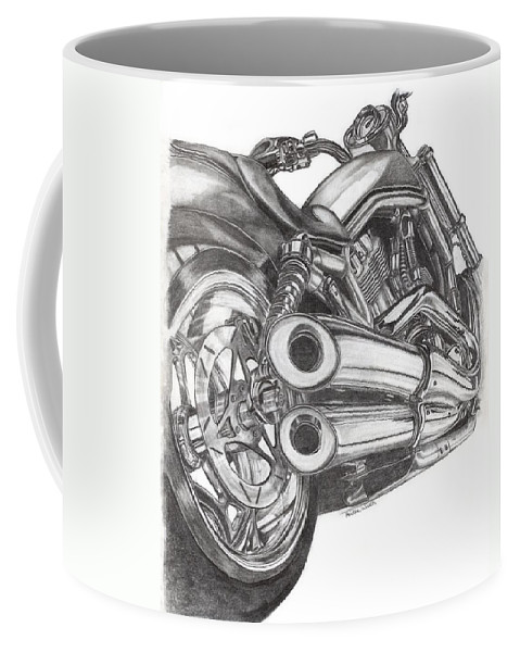 Harley Davidson Coffee Mug featuring the drawing Harley by Kristen Wesch
