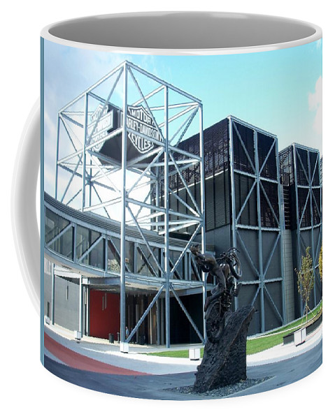 Architechture Coffee Mug featuring the photograph Harley Museum and statue by Anita Burgermeister