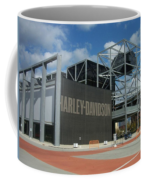 Coffee Mug featuring the photograph Harley Museum by Anita Burgermeister