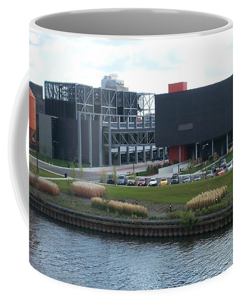 Architechture Coffee Mug featuring the photograph Harley Museum Milwaukee by Anita Burgermeister