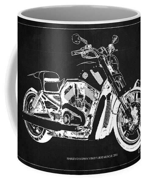 Harley Coffee Mug featuring the digital art Harley V Rod Muscle Motorcycle, Dark Grey Blueprint, Original Gift For Bikers by Drawspots Illustrations