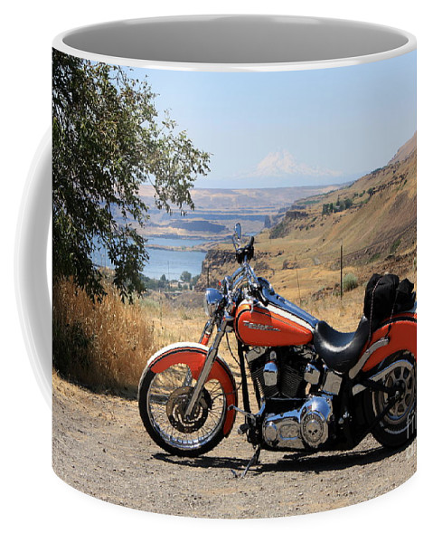Washington State Coffee Mug featuring the photograph Harley With Columbia River And Mt Hood by Carol Groenen