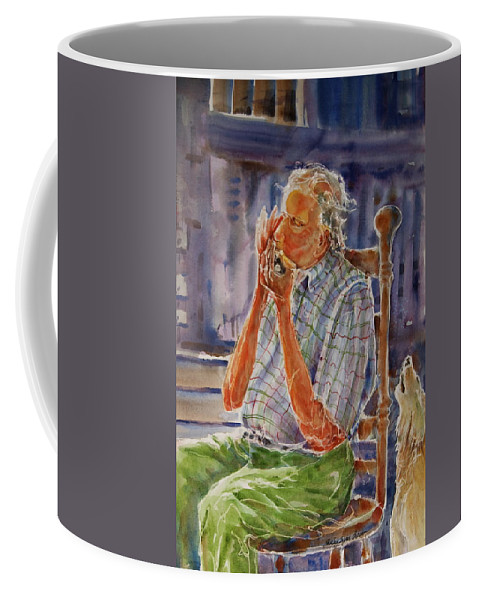 Harmonica Coffee Mug featuring the painting Harmonica Player And A Howler by Shirley Sykes Bracken