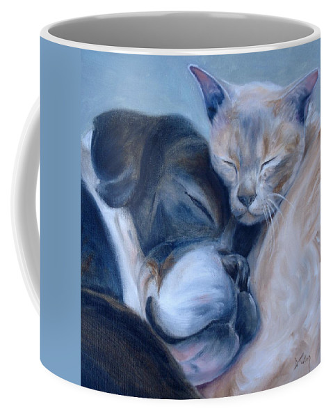 Dog Coffee Mug featuring the painting Harmony by Donna Tuten