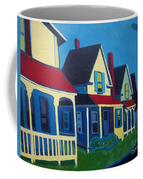 Maine Coffee Mug featuring the painting Harpswell Cottages by Debra Bretton Robinson