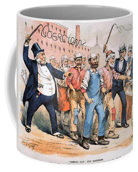 1888 Coffee Mug featuring the photograph Harrison Cartoon, 1888 by Granger