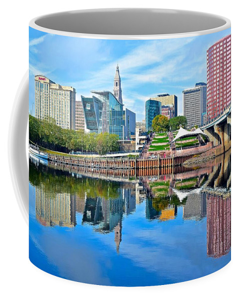 Hartford Coffee Mug featuring the photograph Hartford Reflects by Frozen in Time Fine Art Photography