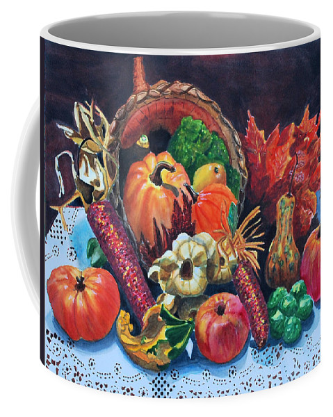 Watercolor Coffee Mug featuring the painting Harvest Bounty by Gerald Carpenter