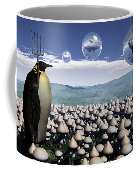 Surreal Coffee Mug featuring the digital art Harvest Day Sightings by Richard Rizzo