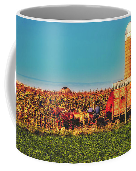 Harvest Coffee Mug featuring the photograph Harvest In Amish Country - Elkhart County, Indiana by Library Of Congress