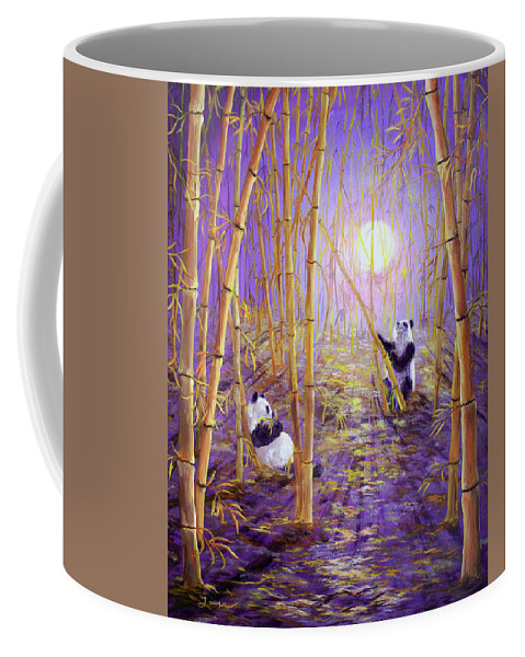 Painting Coffee Mug featuring the painting Harvest Moon Pandas by Laura Iverson